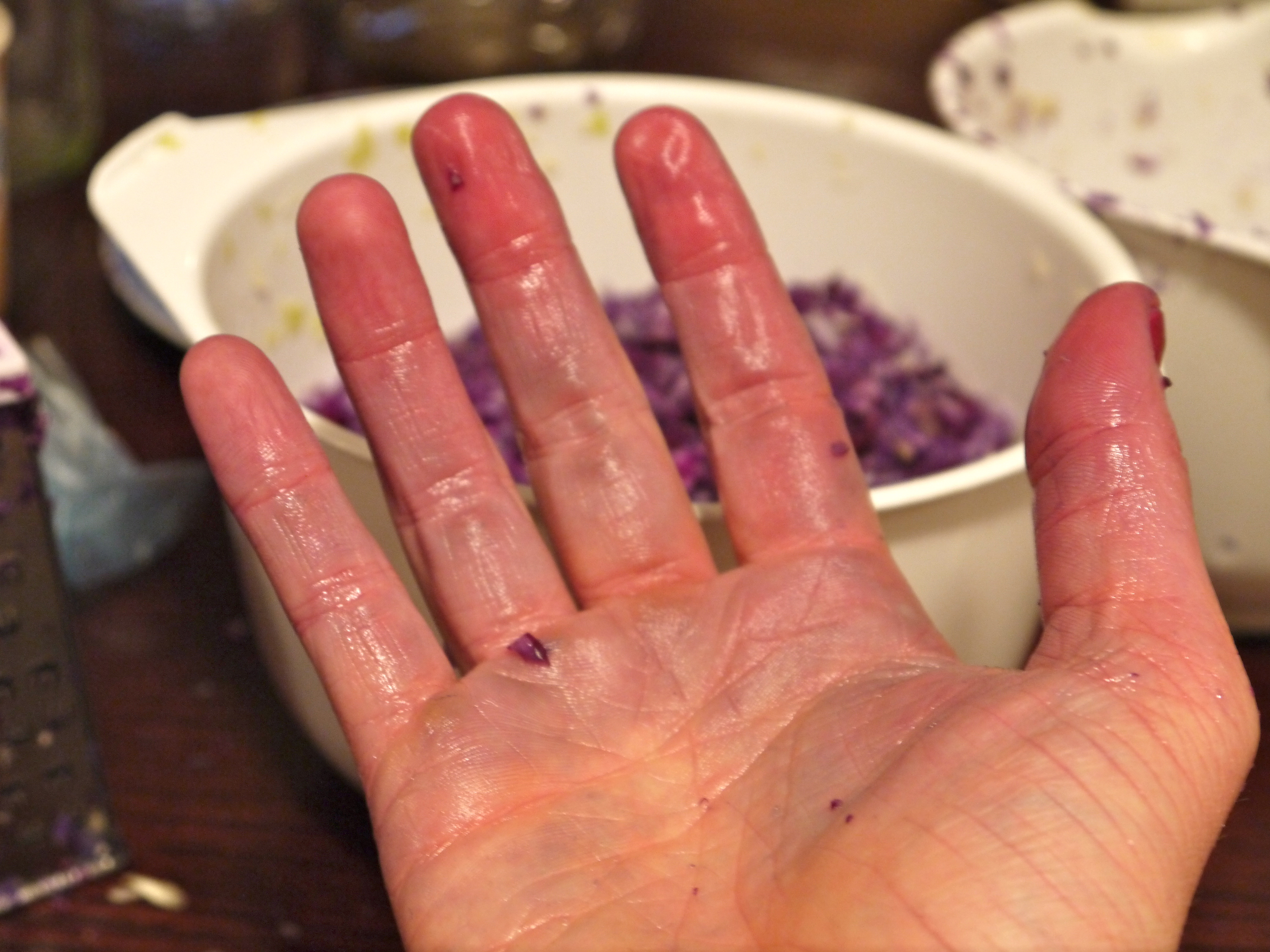 Just the beginning of the stained hands...