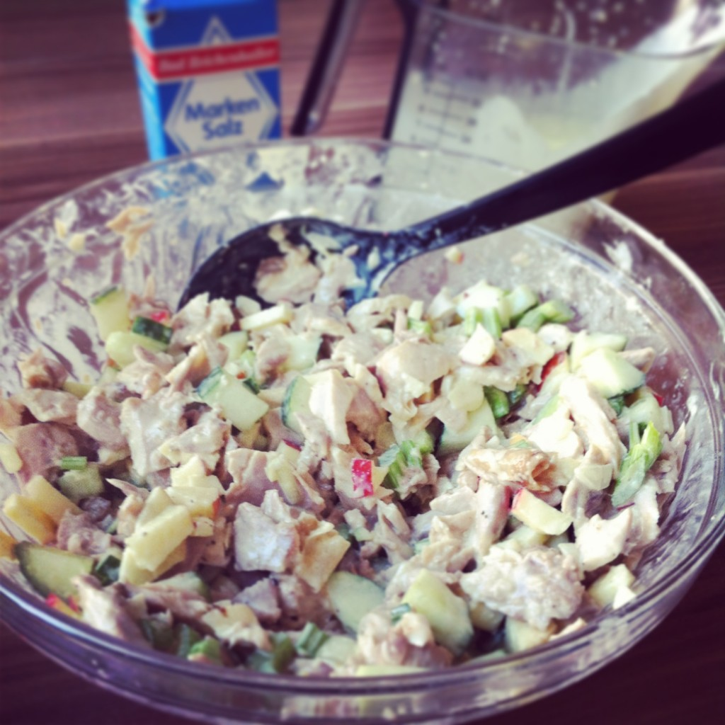 Chicken salad with celery + cucumber + apple + homemade mayo