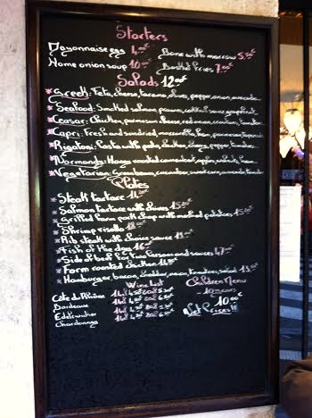 A local Parisian menu