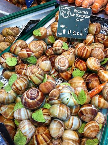 Escargot at a market on Rue de Cler