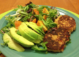 Red Pepper Tuna Cakes + Mandarin Orange Salad (Dairy & Gluten Free)