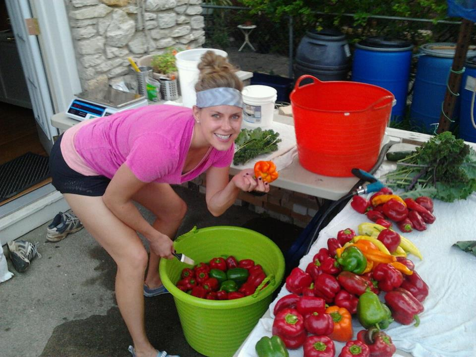 Washing Luke's amazing peppers in Fall 2012!