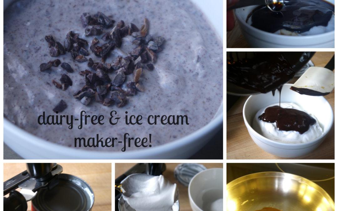 Dark Chocolate Vanilla Ice Cream (Dairy Free & Ice Cream Maker-Free!)