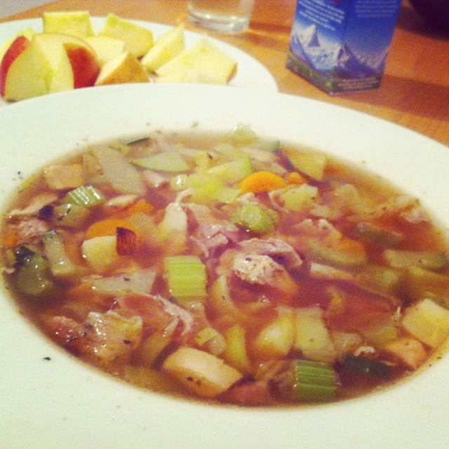 Homemade chicken soup using homemade chicken stock!