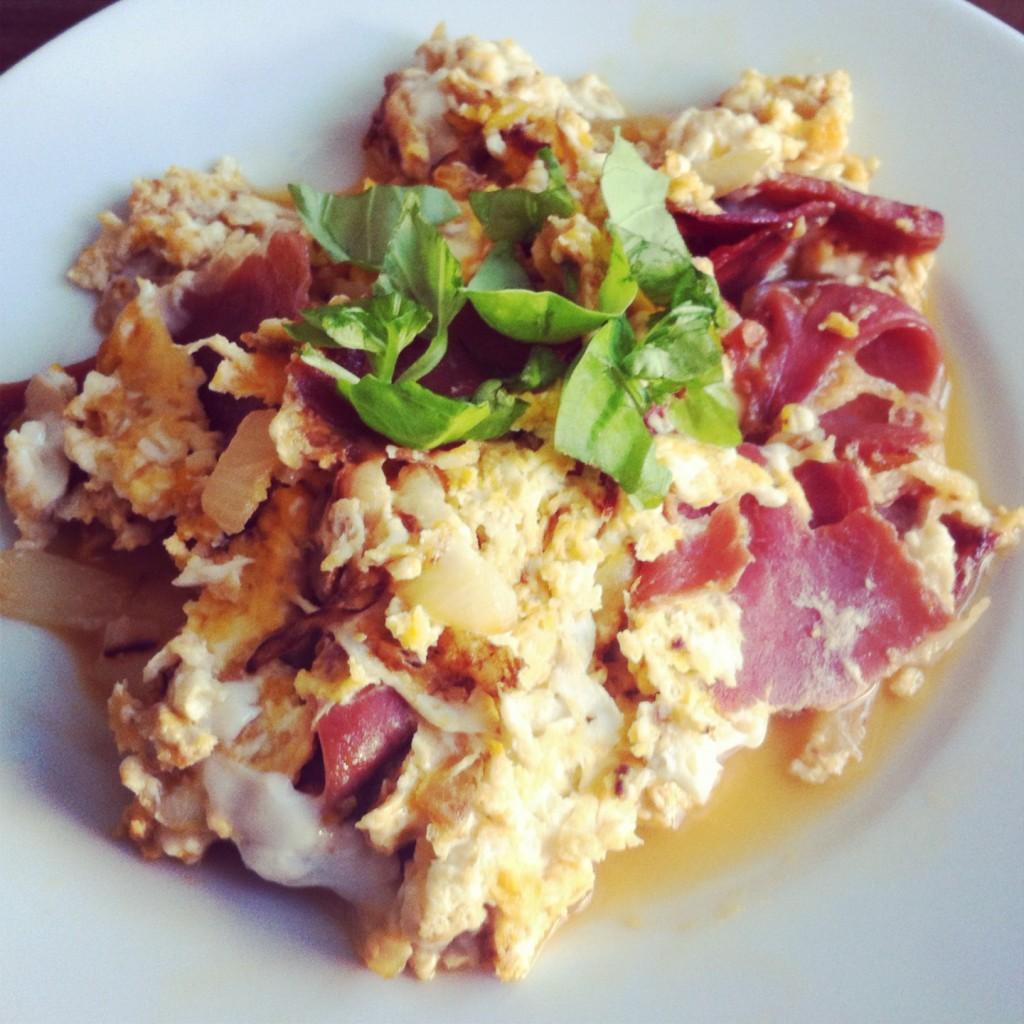 Eggs + dry-cured Spanish ham