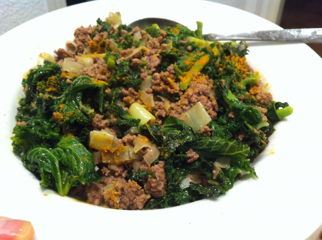 Curried beef with coconut milk + kale + leeks