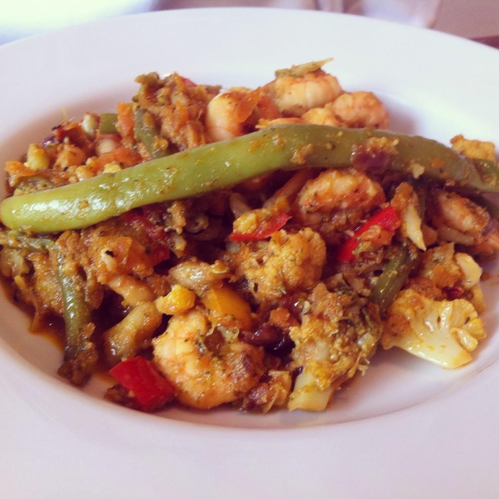 Asian shrimp stir fry with a rainbow of veggies
