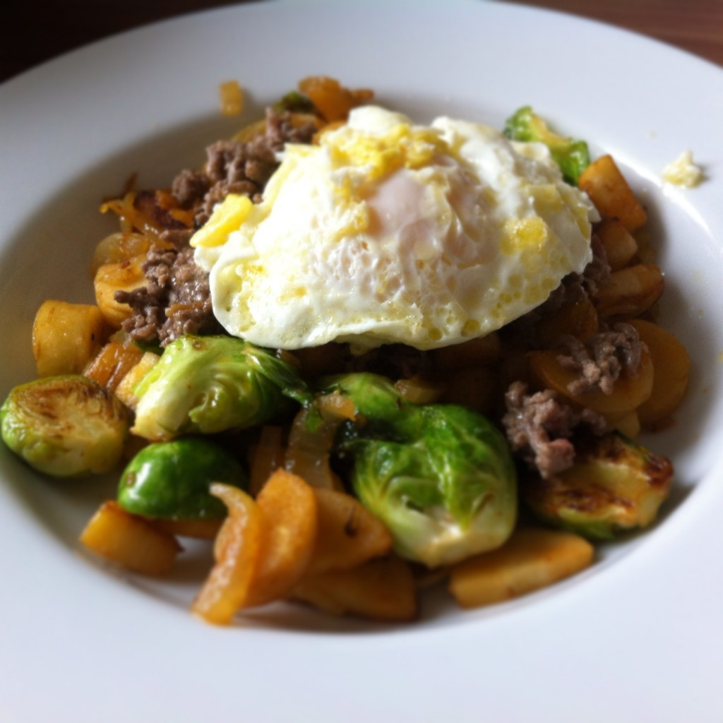 Ground beef + sauteéd Brussels sprouts + parsnips + fried egg on top