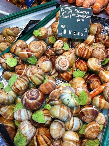 Escargot at a market on Rue de Cler