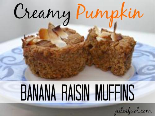Creamy Pumpkin Banana Raisin Muffins (Gluten Free!)